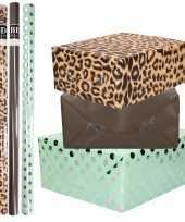8x rollen transparante folie inpakpapier pakket tijgerprint zwart mintgroen met stippen 200 x 70 cm