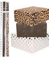 8x rollen transparante folie inpakpapier pakket tijgerprint zwart wit met stippen 200 x 70 cm