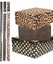 8x rollen transparante folie inpakpapier pakket tijgerprint zwart zwart met stippen 200 x 70 cm