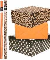 9x rollen kraft inpakpapier folie pakket tijgerprint oranje zwart met gouden stippen 200x70 cm