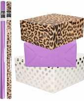 9x rollen kraft inpakpapier folie pakket tijgerprint paars wit met zilveren stippen 200 x 70 cm