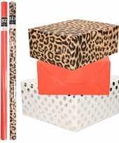 9x rollen kraft inpakpapier folie pakket tijgerprint rood wit met zilveren stippen 200 x 70 cm