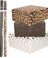 9x rollen kraft inpakpapier folie pakket tijgerprint zwart wit met zilveren stippen 200 x 70 cm