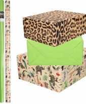 9x rollen kraft inpakpapier jungle tijger pakket dieren tijger groen 200 x 70 cm