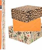9x rollen kraft inpakpapier jungle tijger pakket dieren tijger oranje 200 x 70 cm