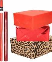9x rollen kraft inpakpapier pakket tijger dierenprint metallic rood 200 x 70 50 cm