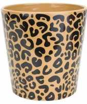 Bloempot keramiek aardewerk voor kamerplant tijger print d11 x h11 cm