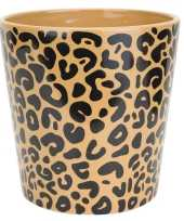 Bloempot keramiek aardewerk voor kamerplant tijger print d13 x h13 cm