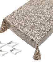 Bruine tafelkleden tafelzeilen tijger print 140 x 245 cm rechthoekig met 4x tafelkleedklemmen