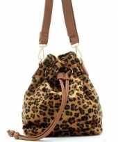 Bruine zwarte tijgerprint schoudertas cross body tas bucket bag 30 cm nel tijgervel
