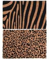 Dieren tijger zebra opdruk deurmat buitenmat kokos 39 x 59 cm 10223195