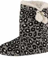 Grijze hoge dames pantoffels sloffen met tijgerprint