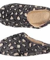 Pluche instap sloffen pantoffels dierenprint tijger voor dames maat 37 38