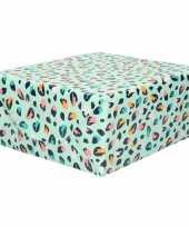 Rollen verjaardagscadeau inpakpapier mintgroen met gekleurde tijgerprint 70 x 200 cm