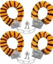 Set van 2x stuks pluche handboeien tijger voor volwassenen