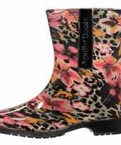 Tijger bloemen motief regenlaarzen voor dames