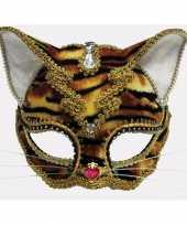 Tijger masker met gouden kanten randjes