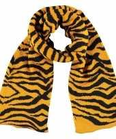 Tijger zebra sjaal shawl okergeel zwart gestreept voor meisjes