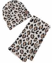 Tijgerprint tijgerprint muts en sjaal shawl beige bruin voor meisjes