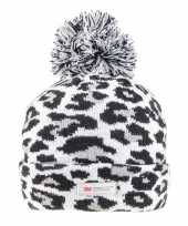 Tijgerprint tijgerprint muts grijs zwart voor dames vrouwen