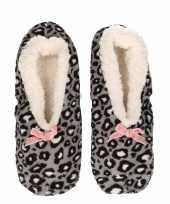 Tijgervlekken tijgervlekken ballerinas pantoffels sloffen grijs voor dames vrouwen