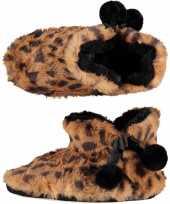 Warme dieren slofjes pantoffeltjes tijgerprint tijgerprint voor dames 10166779