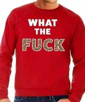 What the fuck tijgerprint fun sweater rood voor heren