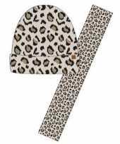 Wintersetje sjaal en muts beige tijger tijger print voor meisjes