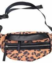 Zwarte bruine tijgerprint heuptas fanny pack cross body tas 30 cm nel tijgervel